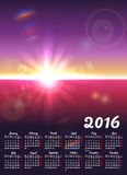 Calendar 2016 with sunny landscape Stock Image