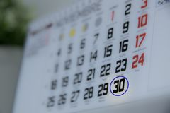 Calendar surrounding the 30th day of the month. Special day royalty free stock images