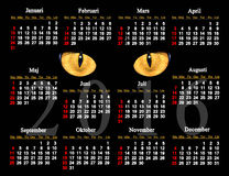Calendar for 2016 in Swedish with cat's eyes. In the darkness vector illustration