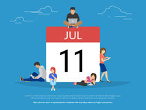 Calendar symbol with people concept flat vector illustration. Of young people using mobil smartphone, tablet and laptop to schedule plan and make date mark in Royalty Free Stock Photo