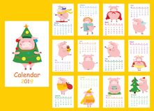 Calendar 2019 with the symbol of the year - pig vector illustration