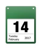 Calendar symbolen för valentindag på 14th Februari Royaltyfri Bild