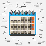 calendar symbolen Kalendersymbolsvektor Kalendersymbolsteckning Calen Royaltyfri Fotografi