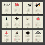 Calendar 2017 with symbols months Stock Photography
