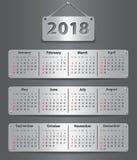 Calendar_tablet för 2018 engelska Arkivbild