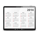 2014 Calendar in Tablet PC. Tablet computer with 2014 calendar stock illustration