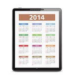 2014 Calendar in Tablet PC. 2014 Calendar on the screen of tablet pc stock illustration
