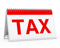 Calendar tax. White calendar with big red tax text Stock Photo
