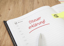 Calendar tax declaration Royalty Free Stock Image