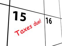 Calendar for taxes due. Calendar closeup showing 15th April marked in red with text 'taxes due!', deadline in United States set by Inland Revenue Service, white vector illustration