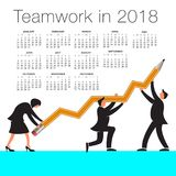 2018 Calendar with a teamwork graphic Royalty Free Stock Photography