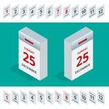 Calendar tears style flat leap year 366 days. Isometric Calendar tears style flat leap year 366 days Stock Photos