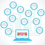 Calendar of 2015 with technology concept design. Vector illustration Stock Images