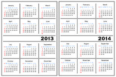 Calendar template. 2013,2014. Template of a calendar of white color. A calendar for 2013 and 2014 royalty free illustration