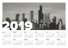 Calendar template 2019 Royalty Free Stock Photography