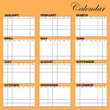 Calendar Template. A template for setting up a calendar for any year Stock Images