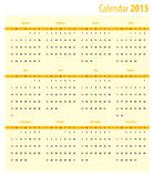 Calendar 2015. Template for the calendar 2015 Stock Photography