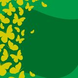 Calendar template with abstract yellow butterflies. On green background Royalty Free Stock Photography