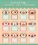 Calendar template 2018 of bakery vector desserts Stock Photo
