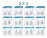 Calendar  template 2016. In blue and black colors Royalty Free Stock Images