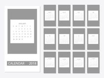 2018 Calendar template. 2018 calendar design print template with place for photo. Week starts on sunday. Set of 12 months Royalty Free Stock Images