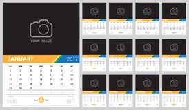Calendar 2017  template ,Calendar design on white backgrou Stock Photo