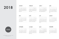 Calendar 2018 template. Calendar template for 2018 year. Planner vector diary in a minimalist style. Corporate and business calendar template. Day planner for Royalty Free Stock Image