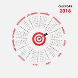 2018 Calendar Template.Calendar for 2018 year.Calendar Starts fr. Om Sunday.Vector design stationery template.Flat style color vector illustration.Yearly Royalty Free Stock Photos