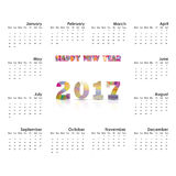 2017 Calendar Template.Calendar for 2017 year.Vector design stat Stock Image