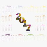 2017 Calendar Template.Calendar for 2017 year.Vector design stat. Ionery template.Week starts Monday.Flat style color vector illustration.Yearly calendar Stock Photos