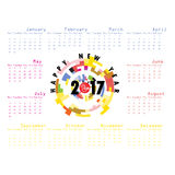 2017 Calendar Template.Calendar for 2017 year. Vector design stationery template.Week starts Monday.Flat style color vector illustration.Yearly calendar vector illustration