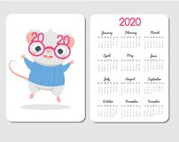 2020 calendar template with cartoon mouse. Chinese new year design with funny rat character in eyeglasses stock photos