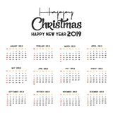 2019 Calendar template. Christmas and Happy new Year Background vector illustration
