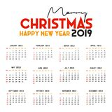 2019 Calendar template. Christmas and Happy new Year Background stock illustration