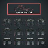 2019 Calendar template. Christmas and Happy new Year Background royalty free illustration