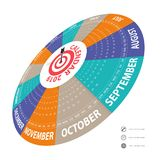 2019 Calendar Template.Circle calendar template.Calendar 2019 Se. T of 12 Months.Starts from Sunday.Yearly calendar vector design stationery template.Vector Royalty Free Stock Photos