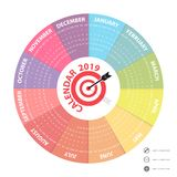 2019 Calendar Template.Circle calendar template.Calendar 2019 Se. T of 12 Months.Starts from Sunday.Yearly calendar vector design stationery template.Vector Stock Photos