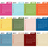 2017 calendar template color folder. Stock vector Stock Image