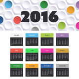 Calendar 2016 Template with Colorful Banner and Header Design Royalty Free Stock Image