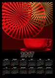 Calendar 2017 template with cup of coffee tea and decorative ele Royalty Free Stock Photography