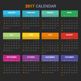 Calendar Template for 2017 on Dark Background. Vector Royalty Free Stock Photography