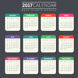 Calendar template for 2017. Calendar for 2017 on Dark Background. Week Starts Monday. Simple Vector Template. For web and print design. Vector illustration Stock Photo