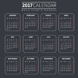 Calendar template for 2017 Royalty Free Stock Image