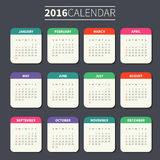 Calendar template for 2016. Calendar for 2016 on Dark Background. Week Starts Sunday. Simple Vector Template. For web and print design. Vector illustration Stock Photos