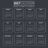 Calendar template for 2017 Royalty Free Stock Images