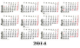 2014 Calendar Royalty Free Stock Images