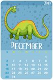 Calendar template for December with green dinosaur. Illustration Royalty Free Stock Photos