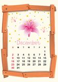 Calendar template for December with pink lily. Illustration Stock Photography
