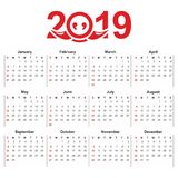 2019 Calendar template vector illustration