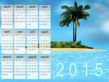 Calendar for 2015. Template design - cardboard calendar 2015 on the premise of a paradise island summer Royalty Free Stock Photography